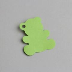 etiquette forme nounours vert anis
