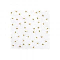Serviettes étoiles de couleur blanche et or