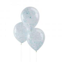 x 5 ballons confettis bleu