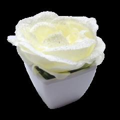 Rose pailletée blanche avec pot