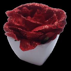 Rose pailletée rouge avec pot