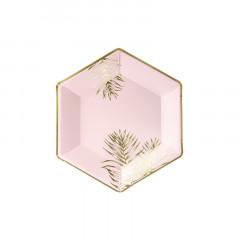 6 assiettes hexagonales rose et or