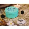 Boîte ronde en métal et PVC turquoise clair