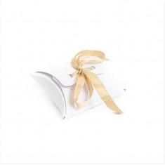x 10 Ballotins à Dragées Blanc Ruban Or