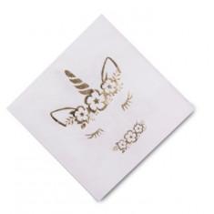 16 Serviettes jolie Licorne dorée - 33 cm x 33 cm