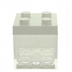 3 Contenants à dragées en plexi type lego couleur blanc - 5 cm  x 5 cm x 5 cm