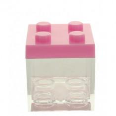 3 Contenants à dragées en plexi type lego couleur rose - 5 cm  x 5 cm x 5 cm