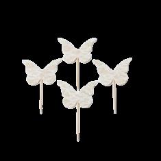 4 Papillons dentelle sur pic