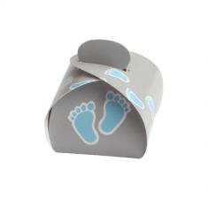50 pochons baptême pieds bleus