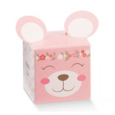 Boîte dragées oreille ourson rose