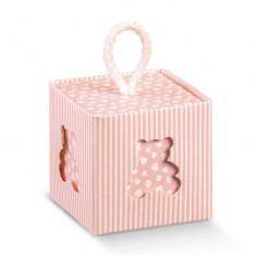 Boîte cube rose ouson + Corde