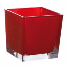 Vase cube rouge – 8 cm