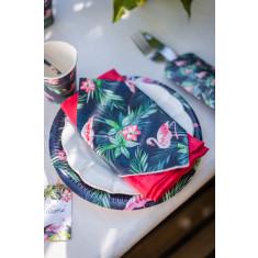 12 assiettes tropicales flamant rose