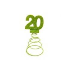 Centre de table anniversaire 20 ans vert anis - 18 cm