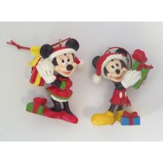 2 figurines Mickey et Minnie Noël avec cordelette