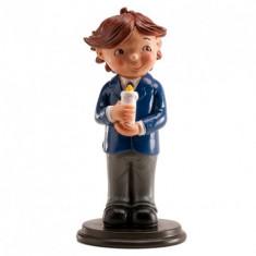 Figurine communion garçon avec bougie