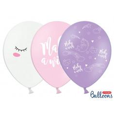 6 Ballons Licorne Blanc Rose Violet