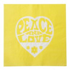 Serviettes Peace and Love - jaune - x20