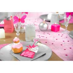 Chemin de table - Intissé uni 30 cm - rose