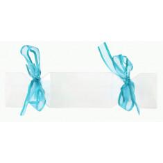 4 Boîtes à dragées bonbons avec rubans turquoise - 12 cm x 3 cm