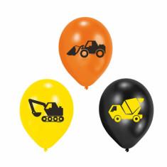 6 ballons en latex camions de chantier