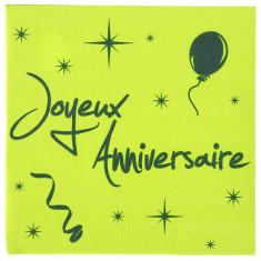 20 serviettes joyeux anniversaire - vert