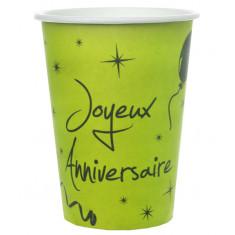 "10 gobelets ""Joyeux Anniversaire"" vert"