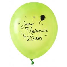 8 ballons Joyeux anniversaire 20 ans - vert