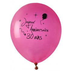 8 ballons Joyeux anniversaire 30 ans - rose