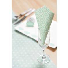 20 serviettes motif hexagones couleur vert
