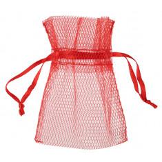 10 sachets tulle rouge 7,5 cm x 10 cm