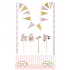 """Décoration de gâteau Baby Shower """"Mademoiselle Rose"""""""