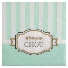 """20 Serviettes Baby Shower """"Monsieur Chou"""""""