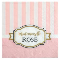 """20 Serviettes Baby Shower """"Mademoiselle Rose"""""""