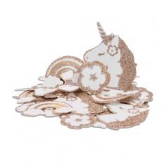100 Confettis de table licorne à paillettes - 5 cm x 4 cm