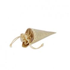 5 Cornets à dragées lin et dentelle