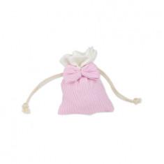 4 sachets à dragées à rayures roses et blanches avec noeud en tissu - 8 x 10 cm