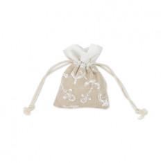 4 sachets à dragées en lin déco marin - 8 x 10 cm