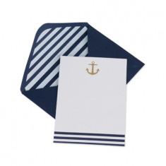 10 Cartes d'invitation thème mer ancre or et marinière avec enveloppes