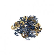 100 Confettis thème mer ancres marines et dorées