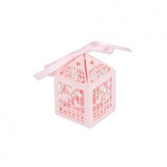 contenant dragées cage oiseau rose poudré x20