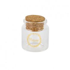 Pot à dragées en verre Marraine couronne or