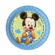 8 assiettes en carton 23 cm - Mickey Baby