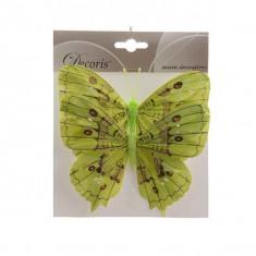 2 papillons en plumes anis