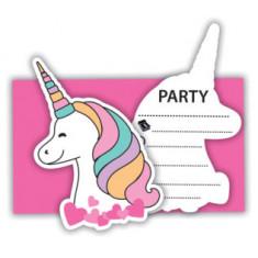"6 Invitations avec enveloppes licorne ""Magic party"""