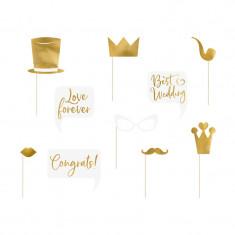Accessoires photobooth mariage dorés x 10