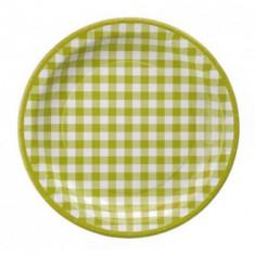 10 assiettes vichy verte
