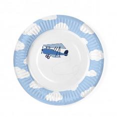 6 Assiettes Nuage Avion Bleu