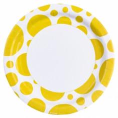 8 assiettes gros pois jaune