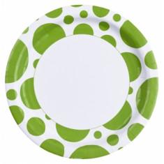8 assiettes gros pois vert anis